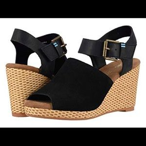 TOMS Black Suede and Leather Tropez Wedges